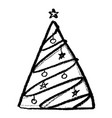 doodle hand drawn christmas tree image vector image vector image