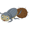 dung beetle with a big ball of poop cartoon vector image vector image