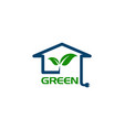 eco house with leaf and power plug concept logo vector image vector image