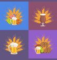four sets of beer presentation vector image vector image
