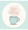 Get well greeting card with cute smiling cup vector image