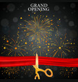 Grand opening card with red ribbon and gold scisso vector image vector image