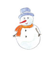 hand drawn watercolor snowman vector image