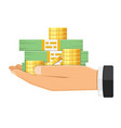 hand with money vector image vector image