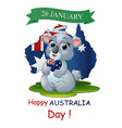 happy australia day poster with a funny koala on m vector image