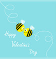 happy valentines day flying bee kissing couple in vector image vector image