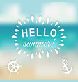hello summer card with marine symbols vector image