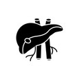 human liver black icon sign on isolated vector image vector image