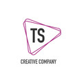 initial letter ts triangle design logo concept vector image vector image