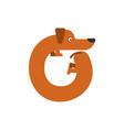 letter o is dog pet font dachshund alphabet vector image