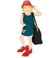 Little fashionista in big shoes and a hat vector image