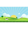 meadow landscape with cow eating grass vector image vector image