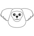 monkey head cartoon isolated black and white vector image