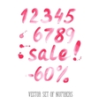 Numbers and sale set Hand drawn letters vector image vector image