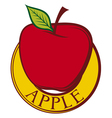 red apple label design vector image vector image