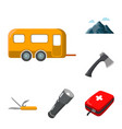 rest in the camping cartoon icons in set vector image vector image