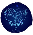 round zodiac sign gemini vector image vector image