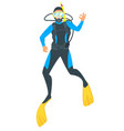 scuba diver on white background vector image vector image