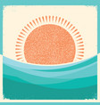 sea waves and sun retro background vintage vector image vector image