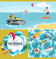 set of water extreme sports backgrounds isolated vector image vector image