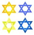 Set of Yellow and Blue Mosaic David Stars vector image vector image