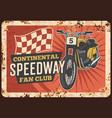 speedway motorcycle metal plate rusty moto club vector image vector image