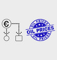 stroke euro cash flow icon and grunge oil vector image vector image