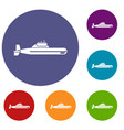 submarine icons set vector image vector image