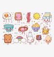 sweet breakfast kawaii cute cartoons vector image