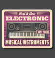 synthesizer retro electronic musical instrument vector image