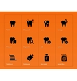 Teeth icons on orange background vector image vector image