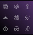 tourism icons line style set with compass vector image