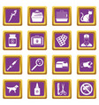 veterinary icons set purple vector image vector image