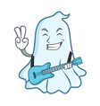 with guitar cute ghost character cartoon vector image