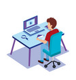 workplace scene with worker isometrics vector image