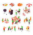 family barbecue picnic isometric icons