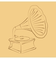 Retro stylized sketched gramophone vector image