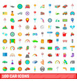 100 car icons set cartoon style vector image vector image