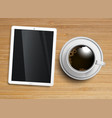 a cup of coffee with a tablet vector image vector image