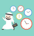 arab businessman running in rush hours and clocks vector image