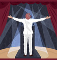 artist standing on stage with raised open arms vector image vector image