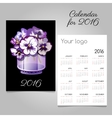 Calendar with bunch of flowers in a vase vector image