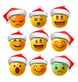 christmas smiley face emojis or yellow emoticons vector image
