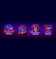 cocktail collection logos in neon style vector image vector image