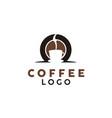 coffee bean smoke and cafe cup mug logo design