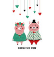 couple of pigs in love vector image vector image