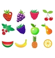 cute cartoon different fruits icons set vector image vector image