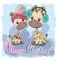 cute winter giraffes boy and girl vector image