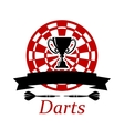 Darts emblem with trophy cup vector image vector image