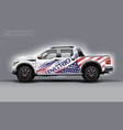 editable template for wrap suv with usa flag decal vector image vector image